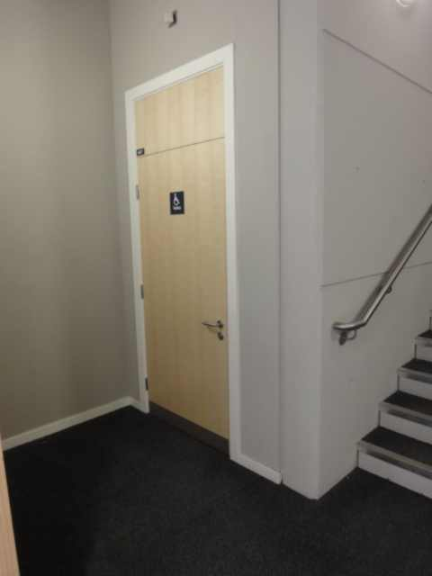 Photo: to the right, the beginning of a flight of stairs. Ahead, a door of light-coloured wood. The handle is on the right hand side of the door. It's the push-down type. A dark blue sign on the door shows a wheelchair icon in white.